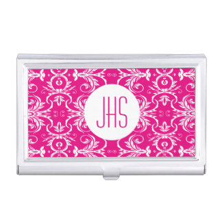 Monogrammed vintage floral pink PERSONALIZE Business Card Holder