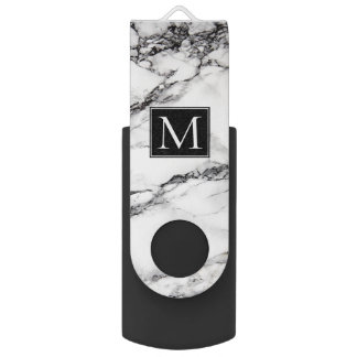 Monogrammed White And Black Marble Pattern USB Flash Drive