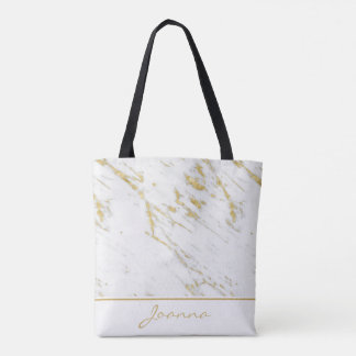 Monogrammed White Marble Gold Glitter Tote Bag