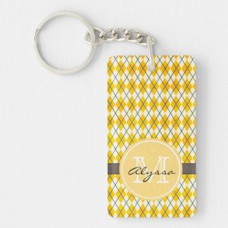 Monogrammed Yellow Argyle Key Ring