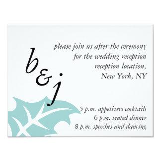 Monograms Blue Winter Wedding Reception Card