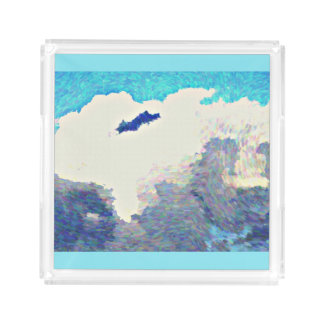 Monsoon Clouds In Oil Acrylic Serving Tray
