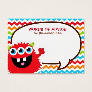 Monster Bash Advice Cards Baby Shower
