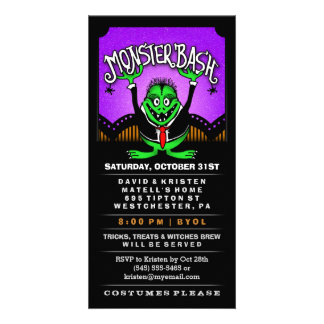 Monster Bash Halloween Fun Vertical Invitation Custom Photo Card