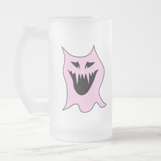 Monster Cartoon, Black and Pink. Frosted Glass Mug