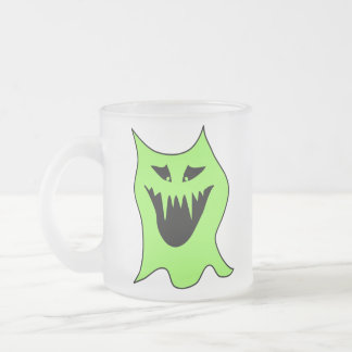 Monster Cartoon. Green and Black. Frosted Glass Mug