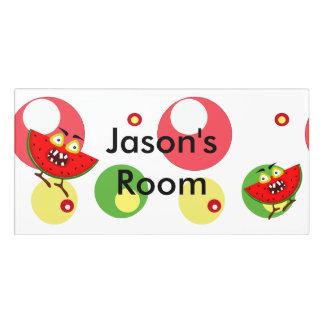 Monster fruit watermelon illustration door sign
