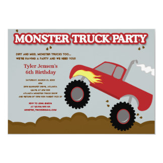 Monster Truck Birthday Party (Red / Gray Colors) 13 Cm X 18 Cm Invitation Card