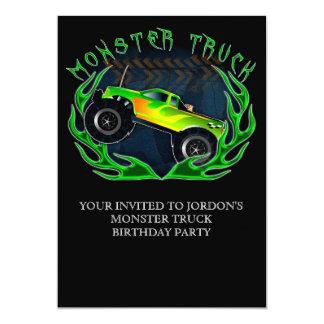 "Monster truck 5"" x 7"" invitation card"