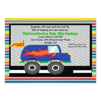 Monster Truck with Flames Birthday Invitation