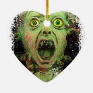 Monster Zombie Green Creepy Horror Ceramic Heart Decoration