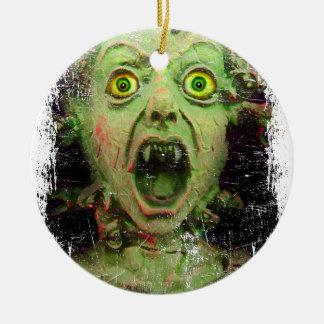 Monster Zombie Green Creepy Horror Round Ceramic Decoration