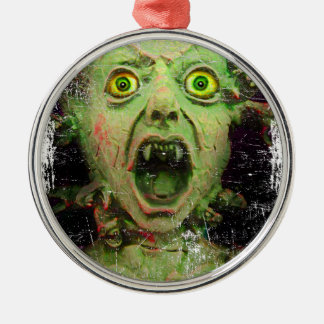 Monster Zombie Green Creepy Horror Silver-Colored Round Decoration