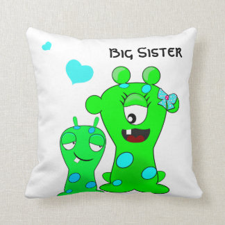 Monsters, Big Sister, Little Brother Cartoon Throw Pillow