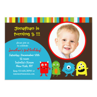 Monsters Birthday Party Invitaitons with Photo 5x7 Paper Invitation Card