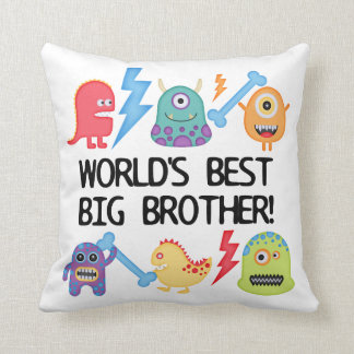 Monsters World's Best Big Brother Throw Pillow