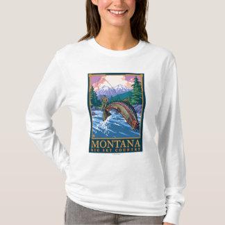 Montana -- Big Sky CountryFly Fishing Scene T-Shirt