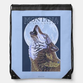 Montana -- Big Sky CountryHowling Wolf Drawstring Bag