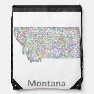 Montana map drawstring bag
