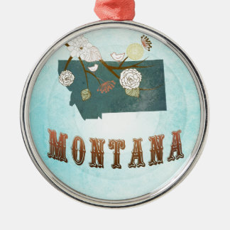 Montana Map With Lovely Birds Christmas Ornament