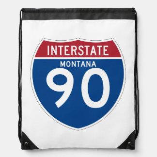 Montana MT I-90 Interstate Highway Shield - Drawstring Bag