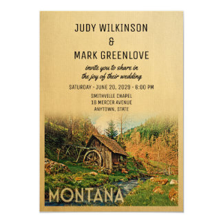 Montana Wedding Invitation Rustic Cabin Mill