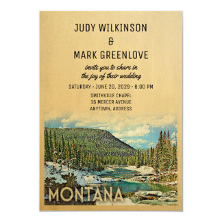Montana Wedding Invitation Vintage Nature