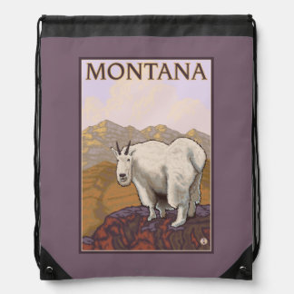 MontanaMountain Goat Vintage Travel Poster Drawstring Bag