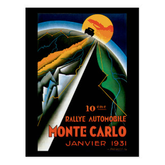 Monte Carlo Auto Rally Vintage Automobile Ad Post Card