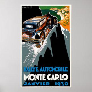 Monte Carlo Auto Rally Vintage Automobile Ad Poster