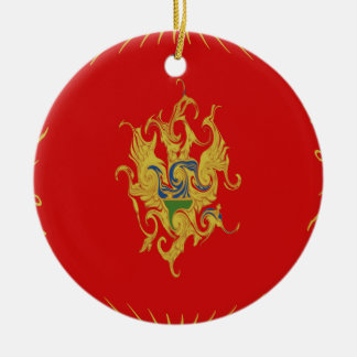 Montenegro Gnarly Flag Double-Sided Ceramic Round Christmas Ornament