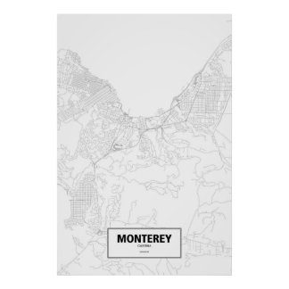 Monterey, California (black on white) Poster