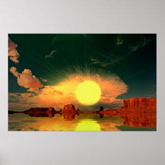 Monument-Valley-Sunrise-Sunburst-2 Poster