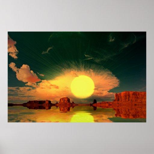 Monument-Valley-Sunrise-Sunburst-2 Posters