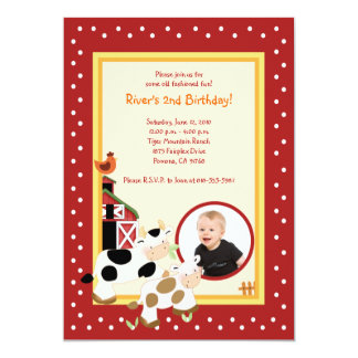 Moo Cow Farm Barnyard *PHOTO* Birthday Invitations