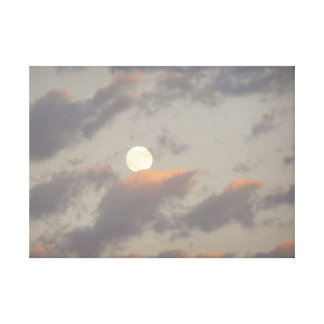 Moon and Clouds Stretched Canvas Prints