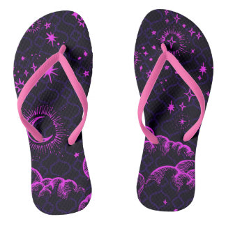 """""""Moon and Stars"""" Flip Flop Shoes (PK/BLK/PUR) Thongs"""