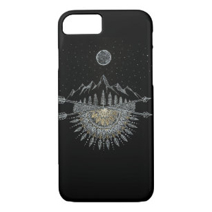 Moon and Stars Night Sky Mountain Range Mandala Case-Mate iPhone Case