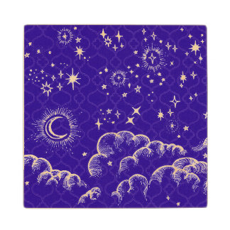 """Moon and Stars"" Wooden Coasters (WH/BLU/PUR)"