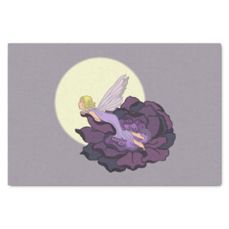 Moon Gazing Purple Flower Fairy Evening Sky Tissue Paper