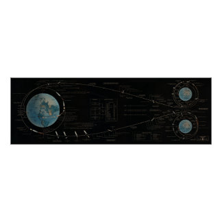 Moon Mission Flight Path Poster
