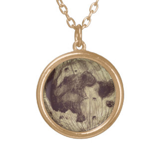 Moon Space Astronomy Gold Plated Necklace
