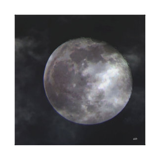 Moon with Clouds Stretched Canvas Prints