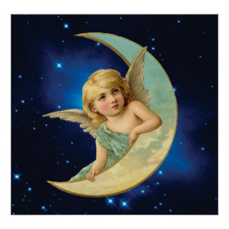 Moonbeam - Angel and Moon Collage Poster