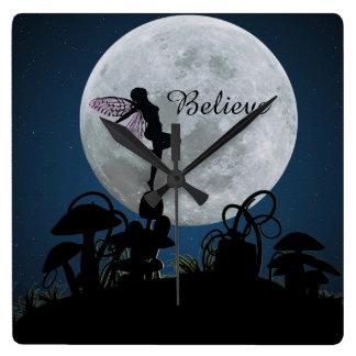 Moonlight dance believe fairy clock