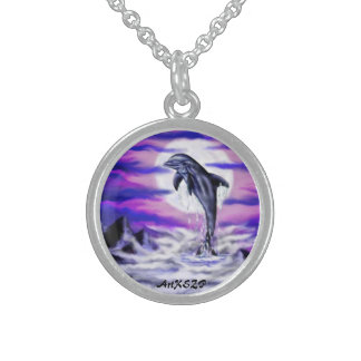 Moonlight Dolphin Sterling Silver Necklace