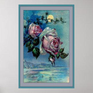 Moonlight Roses A 24x36 Poster Framed