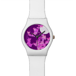 Moonscape with butterflies - orchid, amethyst watch