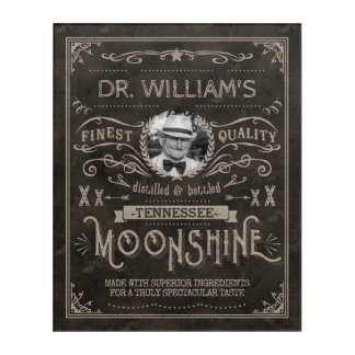 Moonshine Hillbilly Medicine Vintage Custom Brown Acrylic Wall Art