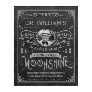 Moonshine Hillbilly Medicine Vintage Custom Gray Acrylic Print